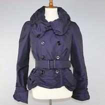 Burberry Ruched Belted Metallic Jacket Rare Runway Purple It Sz 40 / Us 6 / Uk 8 Photo