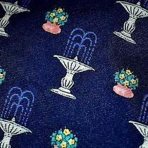 Burberry's Blue Silk Tie With Water Fountains Photo