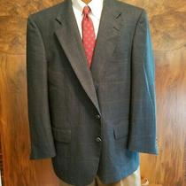 Burberry's Sz 44 R Blue Plaid Wool Two Button Men's Blazer  Photo