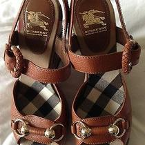 Burberry Sandal Platform Wedge Classic Plaid Sz 37 Brand New Photo