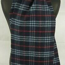 Burberry Scarf 100% Lambswool for Men and Women Made in England Navy 3 Photo