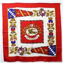 Burberry Silk Scarf White Red Second Hand a Rank With Paper Case Burberrys Photo
