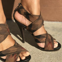 Burberry Size 9 39 Military Plaid Strappy Platform Heel Sandal. Only Worn Twice. Photo