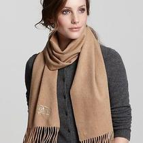 Burberry Solid Horseembroidered Cashmere Camel Scarf Photo