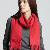 Burberry Solid Horseembroidered Cashmere Military Red Scarf Photo