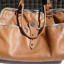 Burberry Tan Leather Tote Bag With House Check Trim Made in Italy Authentic Photo