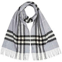 Burberry the Classic Check Cashmere Scarf- Dusty Blue Photo