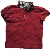 Burberry Toddler Boys Red Polo Shirt Short Sleeve Size 4t Collar Buttons - 19 Photo