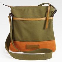 Burberry Turin Green Canvas Brown Suede Messenger Bag 650 Nwt Unixex Mens Photo