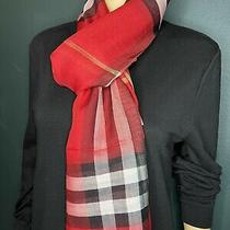 Burberry Unisex Lightweight Check Wool and Silk Scarf Color Military Red Photo