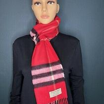 Burberry Unisex the Classic Check Cashmere Scarf Color Military Red Photo