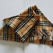 Burberry Vintage Check Cashmere Bandana Scarf Wrap Antique Yellow  Photo