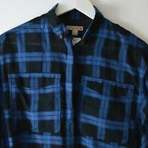 Burberry Womens Black and Blue Checkered Batwing Oversized Shirt Uk6 Photo