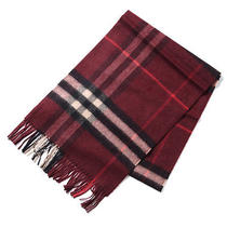 Burberry Women's Men's Burgundy Red 100% Cashmere Giant Icon Classic Scarf Photo