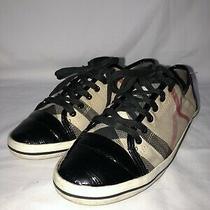 Burberry Women's Nova Check Canvas Patent Sneakers  Sz 8/38 Photo