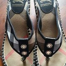 Burberry Women's Nova Check Plaid Black Wedge Flip Flop Sandal 8/38 Photo