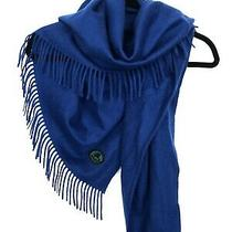 Burberry Women Scarf Nwt 100% Cashmere Blue Photo