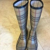 Burberry Womens 38 8 Tan Classic Nova Checked Italy Made Rain Boots Excellent Photo