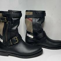 Burberry Womens Black Leather/canvas Check Grantville Boots/booties Sizs 06us Photo