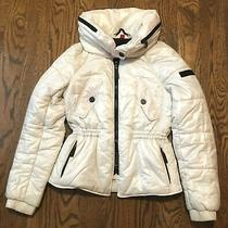 Burberry Womens Puffer Jacket Xs Hidden Hood Snow Skirt Ski White Coat Photo