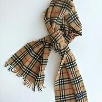 Burberry Womens Wool Check Beige Scarf 160x27 Cm Good Condition Photo