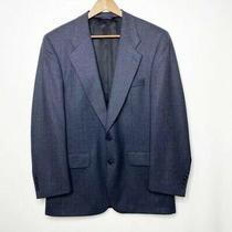 Burberry Wool Blazer 38 R Blue Plaid Two Button Suit Jacket Vtg Photo