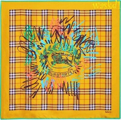 BURBERRY yellow Check CREST GRAFFITI silk 34
