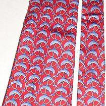 Burberrys Colorful Dolphin Thru Hoop Silk Tie Necktie Photo