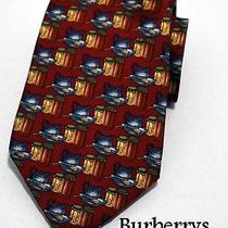 Burberrys Mens Smooth Silk Neck Tie Kitchen-Ware Prints Red Photo