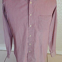 Burberrys of London Men's Shirt Red & White Striped Made N France Size 39-15 1/2 Photo