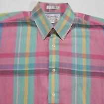 Burberrys of London S/s Button Front Shirt Vtg 80s Bright Colors Made Usa M Photo