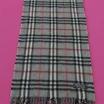 Burberrys of London Scarf Cashmere Designer Muffler Check Theme Gray England Photo