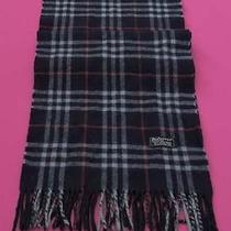 Burberrys of London Scarf Lambswool Designer Muffler Check Theme Blue England Photo