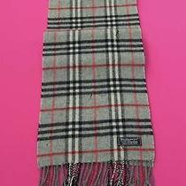 Burberrys of London Scarf Lambswool Designer Muffler Check Theme Gray England Photo