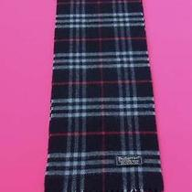 Burberrys of London Scarf Lambswool Designer Muffler Check Theme Blue England Xs Photo