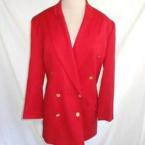 Burberrys Red Jacket Blazer Trophy Wool Double Breasted Peak Lapel Deadstock 4 Photo