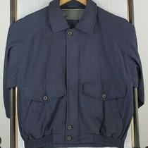 Burberrys Size Medium Mens Cotton a-2 Bomber Jacket Navy Blue London Coat Photo