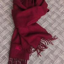 Burberrys Solid Maroon Cashmere Scarf With Horse Embroidery Photo
