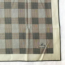 Burberryscarf Cotton Handkerchief Olive Green Houndstooth Plaid Neck Scarf Vtg Photo