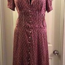 Burgundy and Cream Bebe Geometric Vintage 40s Style Dress Size Large Photo