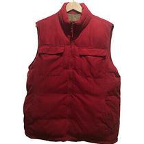 Burgundy Red Puffer Vest St Johns Bay Size Medium Mens Full Front Zip 6 Pockets Photo