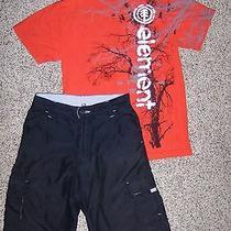 Burnside Black Cargo Shorts Element Red Short Sleeve Shirt Boy's Size 12 (L) Photo