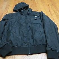 Burton  Black Quilted Taffeta Zip Up Sporty Hooded Jacket Women's Large Guc Photo