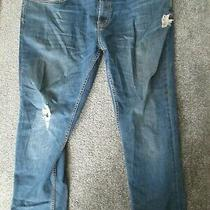 Burton- Blue Faded Zip Fly Distressed Slim Fit Jeans Size 38/26 Photo