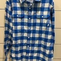 Burton Boys Flannel Button Down Shirt Size Xl 18 Brighton New Cobalt Blue  Photo