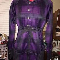 Burton Dryride Purple Black Plaid Ski Snowboard Jacket W/ Hood Softshell Photo