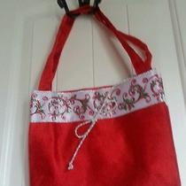Burton Holiday Red Velvet Like Purse With Handle Photo