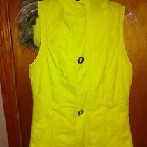 Burton Jrs. Size Xs Electric Neon Yellow Ski/winter Vest.  Faux Fur Trim Hood. Photo