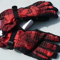Burton Ladies Gloves Dry Ride  Ultra Shell Adjustable Wrist Plaid New With Tags Photo