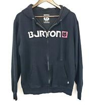 Burton Mens Black Full Zip Hoodie Size M Logo Hooded Cotton Sport Snowboarding Photo